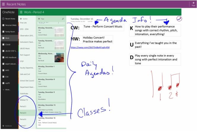Using OneNote to display my daily agenda